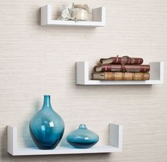 Floating Wall Shelf Set 3 Mounted U Shape Shelves Small Medium Large White Wood #Contemporary
