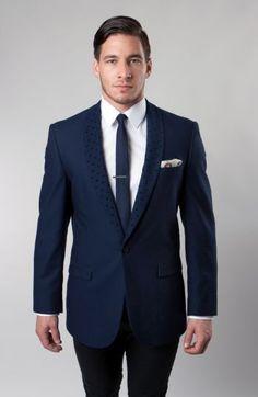1 Button Single Solid Blazer Jacket  Slim Fit PATTERNED COLLAR NARROW SHAWL #TAZIO155S #OneButton