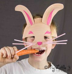 These cute whiskered paper plate Easter Bunny Masks are an easy Spring craft that children of all ages will enjoy having in their dressing up box. BOING!