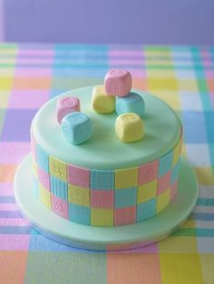 As easy as ABC! Patchwork ABC Cake - Perfect for baby showers! Issue 3 of Cake Decorating Magazine shows you how!