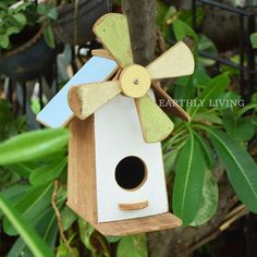 Vintage Reclaimed wood Windmill Hanging Birdhouse outdoor garden accessory #HandmadebyEarthlyLiving