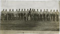 The first Baseball team photo in history - the New York Knickerbockers & the Brooklyn Excelsiors - 1858.