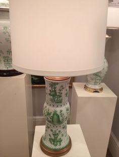 The new Canton porcelain lamp from Chelsea House in an unexpected shade of grassy green. Would be fun to see something so traditional mixed with midcentury pieces for contrast. #hpmkt #stylespotter #chelseahouse (200 North Hamilton, Chelsea House)