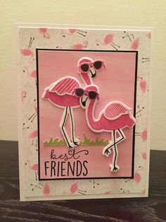 Best Friens Card - Cool Flamingos created with CTMH Tickled Pink Stamps & thin cuts with Calypso paper