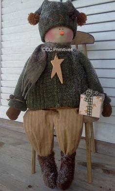 Jake Primitive Snowman  Handmade Primitive by CCCPrimitives