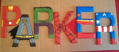 "PARKER 5.5"" tall hand-painted superhero letters"
