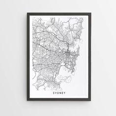 Sydney Map Print - Minimalist Map / New South Wales / Australia / City Print / Australian Maps / Giclee Print / Poster