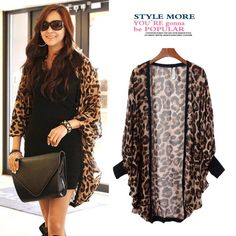 2013Spring&Autumn European style Women's Long loose bat Long sleeve cardigan leopard chiffon jacket  Plus size Free shipping $15.29