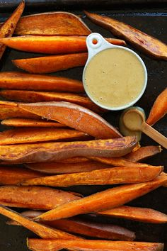DELICIOUS Savory Sweet Potato Wedges with No Honey Mustard Dipping Sauce! #vegan #glutenfree | minimalist baker