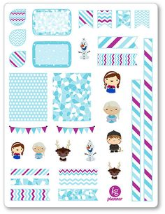 One 6 x 8 sheet of frozen friends decorating kit/weekly spread planner stickers cut and ready for use in your Erin Condren life planner, Filofax,