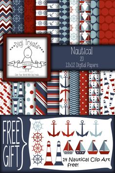 Nautical Digital Paper  FREE PNG Clip Art. Nautical by DigiTreats