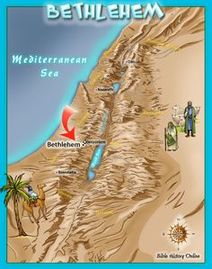 Map showing the town of Bethlehem where Jesus was born - from kidsbiblemaps Free Bible Study, Bible Study Tools, Jerusalem, Where Is Jesus, Palestine History, Geography For Kids, Bible Mapping, Life Of Christ, Bible