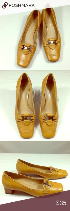 Etienne Aigner kitten heel pumps Like new condition, stitching is perfect. Golden tan leather uppers, balance is man made. Silver tone buckle. Stacked heel. Etienne Aigner Shoes Heels