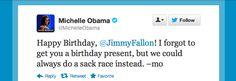 Michelle Obama Sends Jimmy Fallon A Special Invite For His Birthday