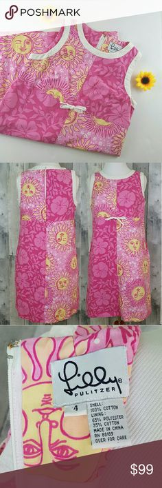 Size 4 Lilly Pulizter Sun & Hibiscus Shift Dress This listing is for a vintage Lilly Pulizter sun face and hibiscus flower print shift dress. I could not find it elsewhere so it is very rare. There are two flaws the tie around the waist has become un-threaded a but which is easily fixable, there is a small pull in the collar, and there's some staining around the inside clasps. See the last two photos. There is also some light piling. It is in great vintage condition though and has pockets…