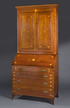 """Desk & Bookcase - Attributed to William Campbell - Madison County Kentucky, 1800-1810, cherry & sycamore, 90 ¼"""" H, 45"""" W,  21 ½"""" D – 845.3 Description: William Campbell remains an enigma as the possible cabinetmaker of the subject chest, and other related furniture. There are sufficient clues to warrant optimism that William Campbell will be specifically identified and a framework of his life developed. MESDA Credit Line: Loan courtesy of Mack and Sharon Cox"""