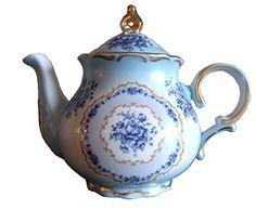 Amazon.com | Ophelia Porcelain China Tea Set W/two Cups & Saucers - By the Lamport House (Blue w/Blue Delft Floral): Tea Sets