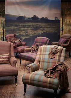 Chairs covered in fabrics from Zoffany's Tinto Wools collection
