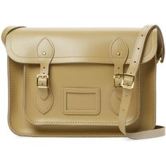 """The Cambridge Satchel Company Women's Medium Leather 13"""" Satchel -... (£69) ❤ liked on Polyvore featuring bags, handbags, green, green leather handbag, genuine leather purse, brown leather satchel, green leather purse and brown satchel purse"""