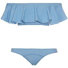 Lisa Marie Fernandez Mira Flounce denim bikini ($400) ❤ liked on Polyvore featuring swimwear, bikinis, frill bikini, ruffle swimwear, bikini swim wear, swim swimwear and flounce swimwear