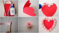 valentines day cards tutorial paper flowers glue heart shaped paper