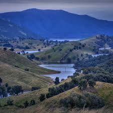 The now flooded Goodradigbee River Valley looking North past Wee Jasper Bridge to Codys Ridge, NSW