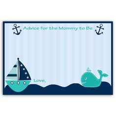 Ahoy It's a Boy Whale Teal Advice Card