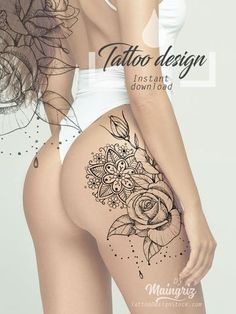 Get thousand ideas for your sexy tattoos. We present to you a selection of original tattoo designs ideas to bring you more inspiration for your tattoo. Hip Thigh Tattoos, Floral Thigh Tattoos, Hip Tattoos Women, Shoulder Tattoos For Women, Rose Tattoos, Sexy Tattoos, Tatoos, Crown Tattoo Design, Feather Tattoo Design