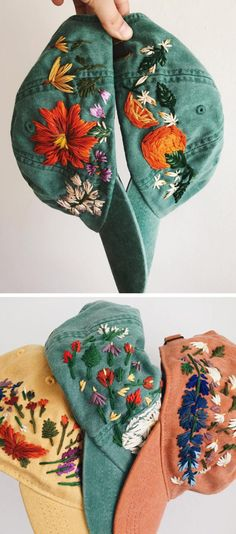 Hand-Embroidered Hats Let You Root for Your Favorite Team. Flowers - - Hand-Embroidered Hats Let You Root for Your Favorite Team. Flowers Hand-Embroidered Hats Let You Root for Your Favorite Team. Flowers Embroidered hats by Lexi Mire Hand Embroidery Stitches, Hand Embroidery Designs, Vintage Embroidery, Embroidery Techniques, Embroidery Art, Hand Stitching, Embroidery Sampler, Embroidery Patches, Diy Embroidery On Clothes