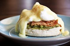 Eggs Benedict with avocado on biscuit (use grain free biscut and paleo H sauce)