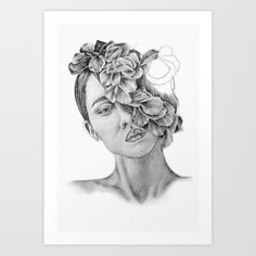 Art - Pencil drawing - Illustration - portrait - model -Flowers - Gift - wall decor Stationery Cards by kathrynlisa Pencil Art, Pencil Drawings, Art Drawings, Cartoon Drawings, Drawing Tips, Sketch Drawing, Art Prints For Home, Music Artwork, Art Sketchbook