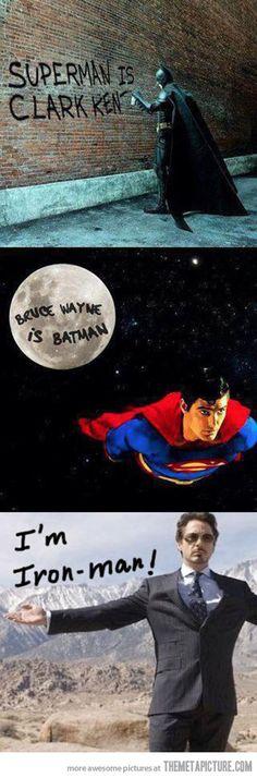 Superman vs. Batman vs. Iron man… and that's one of the MANY reasons why I love iron man...