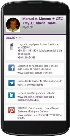 Esta es la web móvil (Business Card) de nuestro Director de Mobile Marketing http://ceo.myqr.tel