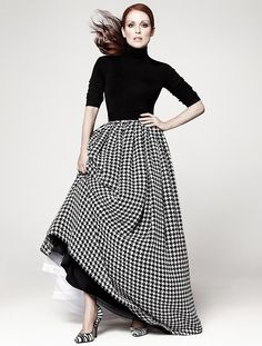 Julianne Moore in houndstooth skirt