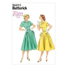 Retro Sewing Butterick Misses Dress - - Pullover dress has collar, optional shoulder pads, fitted bodice, pockets with ties, side zipper and self belt. Easy Sewing Patterns, Vintage Sewing Patterns, Dress Patterns, Sewing Ideas, Paper Patterns, Mccalls Patterns, Design Patterns, Clothes Patterns, Sewing Tutorials