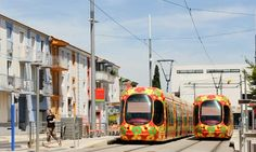 Decorated trams in Montpellier, France... a fun way to enliven the city streets.