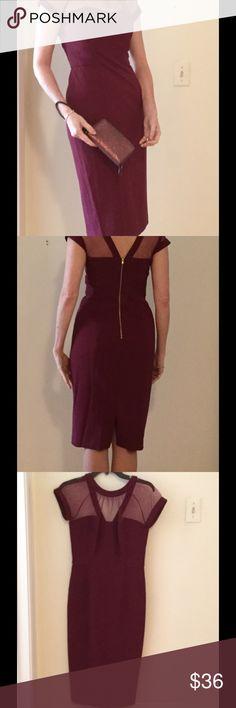 Burgundy Maggie London sheath dress, Sz 4 Maggie London illusion yoke, crepe sheath. Burgundy dress w back zip. Shear shoulders, knee-length. True-to-size, flattering, fully lined. maggie london Dresses