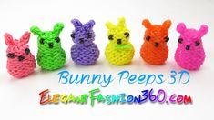 Rainbow Loom Bunny Peeps 3D Charm - How to Loom Bands