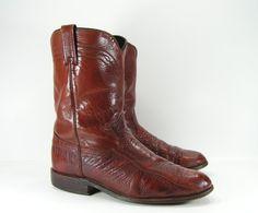 ostrich roper cowboy boots mens 11 D genuine by vintagecowboyboots, $89.99