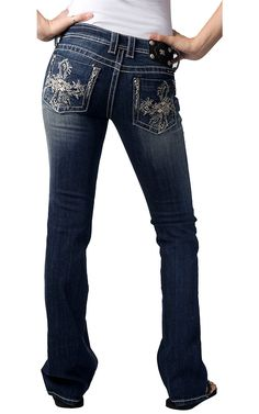 Miss Me® Ladies Leafy Embroidered Cross w/ Leather & Crystals Boot Cut Jean $99.00
