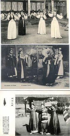 """Top: """"Dancing girls called 'Kiisan' in Chosen"""" early Japanese postcard. Middle: """"Un concert, en Corée/A concert, Corea""""/verso """"Missions-Etrangères de Paris. Bottom: verso """"Hinode-Shoko, Seoul, Korea"""""""