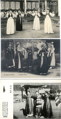 "Top: ""Dancing girls called 'Kiisan' in Chosen"" early Japanese postcard. Middle: ""Un concert, en Corée/A concert, Corea""/verso ""Missions-Etrangères de Paris. Bottom: verso ""Hinode-Shoko, Seoul, Korea"""
