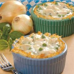 Chicken in Potato Baskets Recipe -These petite pies with their hash brown crusts are so pretty that I like to serve them for special luncheons. Chock-full of meat and vegetables in a creamy sauce, they're a meal-in-one...and a great way to use up left-over chicken or turkey. —Helen Lamison Carnegie, Pennsylvania