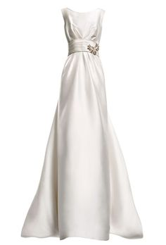 "Pronovias. We can totally picture Audrey Hepburn-like gamines looking effortlessly classic in this satin sheath.   A-line silk mikado dress with embroidered appliqués, style ""Eros,"" Pronovias"