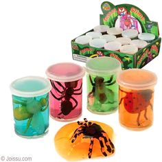 INSECT SLIMES. Each of these little containers of colored slime has a small insect figurine. They will provide hours of entertainment. Assorted styles. Sorry, no style choice available. Each shrink wrapped. Perfect for Christmas stocking stuffers, Easter basket treats and party favors.  Size 2 Inches, display unit 7 X 605 X 5 Inches  BUY 12, GET A FREE DISPLAY UNIT