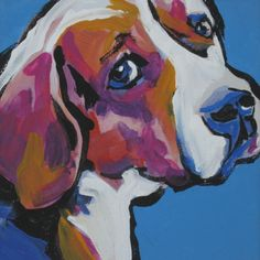 Beagle art print pop dog art bright colors 8x8 inch - I want this!