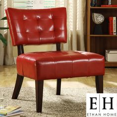 ETHAN HOME Charlotte Red Faux Leather Armless Accent Chair | Overstock.com