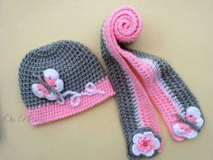Crochet set hat and scarf, crochet baby girl hat and scarf, crochet grey and pink beanie and scarf, toddler hat with flowers-butterfly Crochet baby girl set-hat and scarf decorated with flowers or with butterflies. Perfect for your babys first photo, for Baby Girl Crochet, Crochet Baby Hats, Crochet Beanie, Crochet Scarves, Crochet For Kids, Knitted Hats, Knit Crochet, Crochet Toddler, Baby Girl Hats