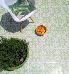 Sorzano Foliage Vinyl Floor Tile: per These self adhesive vinyl floor tiles are inspired by a traditional Spanish design. Ceramic Floor Tiles, Tile Floor, Retro Vinyl Flooring, Tiles Uk, Stone Fireplace Surround, Retro Caravan, Spanish Design, Unique Flooring, Tile Countertops