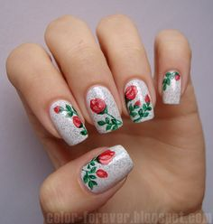 red roses & marble nail art by ania